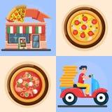 Ast送货人和薄饼导航在平的样式比萨店比萨店快餐菜单例证的五颜六色的例证 免版税库存照片