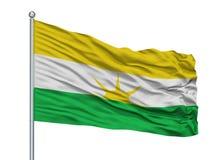 Asta de bandera de San Luis De Palenque City Flag On, Colombia, departamento de Casanare, aislado en el fondo blanco ilustración del vector