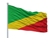 Asta de bandera de San Pablo De Borbur City Flag On, Colombia, aislada en el fondo blanco ilustración del vector
