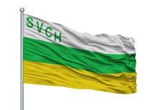 Asta de bandera de San Vicente De Chucuri City Flag On, departamento de Colombia, Santander, aislado en el fondo blanco ilustración del vector