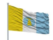 Asta de bandera de Santa Cruz De Lorica City Flag On, departamento de Colombia, Córdoba, aislado en el fondo blanco stock de ilustración