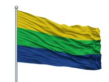 Asta de bandera de Santa Rosa De Osos City Flag On, Colombia, aislada en el fondo blanco ilustración del vector