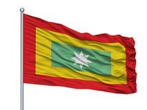 Asta della bandiera di EL Carmen De Bolivar City Flag On, Colombia, dipartimento del Bolivar, isolato su fondo bianco royalty illustrazione gratis