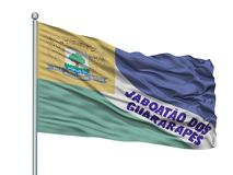 Asta della bandiera di Jaboatao Dos Guararapes City Flag On, Brasile, stato del Pernambuco, isolato su fondo bianco illustrazione vettoriale