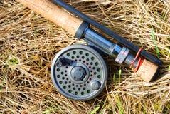 Asta di pesca della mosca Immagine Stock