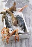Asta di simbolo di pesca/marea, mercato ittico immagini stock