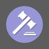 Asta, martelletto, icona piana del martello del giudice Bottone variopinto rotondo, segno circolare di vettore con effetto ombra  Fotografia Stock Libera da Diritti