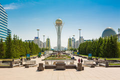 Astana baiterek left bank. Evening Stock Photos
