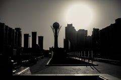 Astana baiterek left bank. Evening Stock Image