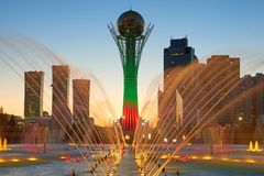 Astana cityscape. Colorful fountains royalty free stock photo