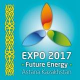 ASTANA, CAZAQUISTÃO/junho de 2017 - expo 2017 e bandeiras e símbolos de Cazaquistão ilustração royalty free