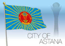 Astana city flag and symbols, Kazakhstan Stock Photo