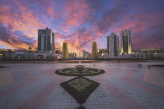 Astana city. Astana Kazakhstan sightseeing at night stock photos