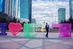 Astana city, Kazakhstan, a woman at the street royalty free stock image