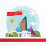 Astana detailleerde silhouet In vectorillustratie, vlakke stijl Modieuze kleurrijke oriëntatiepunten vector illustratie