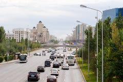 Astana, Kazachstan - September 3, 2016: De Weg van Gr Mangilik Dayt Stock Afbeeldingen