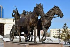 Astana, Kazachstan/- zabytek uwypukla historycznego kazach wojownika Zdjęcie Royalty Free