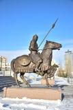 Astana, Kazachstan/- zabytek uwypukla historycznego kazach wojownika Fotografia Royalty Free