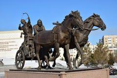 Astana, Kazachstan/- zabytek uwypukla historycznego kazach wojownika Zdjęcie Stock