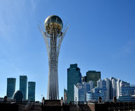 Astana. Kazakhstan. April 17, 2016. Kazakhstan. Astana. April 17, 2016. The monument Baiterek. Modern residential buildings. Business centers stock photography