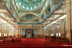 ASTANA, KAZAKHSTAN -August 25, 2015: Interior of the Nur-Astana Mosque, the third largest mosque in Central Asia. royalty free stock photos