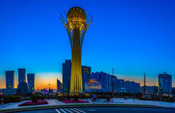 Astana, Kazakhstan - 24 August: The symbol of Kazakhstan Baytirek view of backlit at sunset, August 24, 2012, Astana, Kazakhstan royalty free stock image
