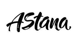 Astana, Kazakhstan Conception de lettrage de typographie de capitale Calligraphie tirée par la main de brosse, texte pour la cart Image libre de droits