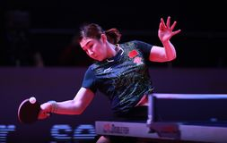 Chen Meng from China top spin. Astana, KAZAKHSTAN, Dec 2017 : Chen Meng from China top spin at the 2017 ITTF World Tour Grand Finals Stock Photo