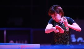 CHEN Xingtong from China backhand. Astana, KAZAKHSTAN, Dec 2017 :CHEN Xingtong from China backhand at the 2017 ITTF World Tour Grand Finals Royalty Free Stock Images