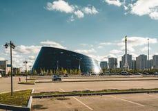 ASTANA, KAZAKHSTAN July 2018 - The Shabyt Palace of Creativity building, nicknamed the Dog Bowl, in Astana, the capital stock images