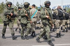 Astana, Kazakhstan, - May, 2, 2015. Special Forces of the Army of Kazakhstan at the rehearsal of the parade in honor of the royalty free stock image