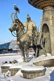 Astana / Kazakhstan - Monument featuring a historic Kazakh warrior Stock Image