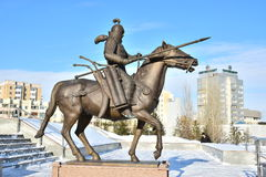 Astana / Kazakhstan - Monument featuring a historic Kazakh warrior Stock Images