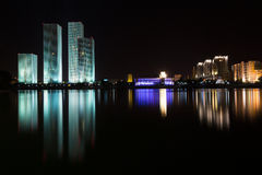 Astana. kazakhstan night panorama stock images