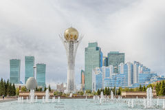 Astana, Kazakhstan - September 3, 2016: Baiterek - the central a. Ttraction of Astana on the background of clouds royalty free stock photography