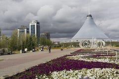 ASTANA, KAZAKHSTAN - 13 SEPTEMBRE 2017 : Fer à cheval de fontaine et Image stock