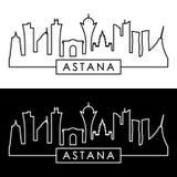 Astana linia horyzontu liniowy styl Zdjęcie Stock