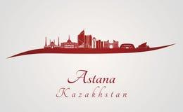 Astana linia horyzontu w czerwieni Obrazy Royalty Free