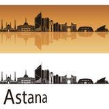 Astana linia horyzontu w pomarańczowym tle Zdjęcia Stock