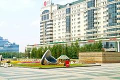 astana Mitt av staden Nurzhol Boulevard Royaltyfri Bild
