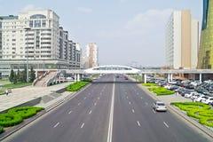 astana Mitt av staden Nurzhol Boulevard Arkivfoton