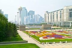 astana Mitt av staden Nurzhol Boulevard Arkivfoto