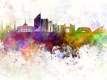 Astana skyline in watercolor background Royalty Free Stock Image
