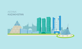 Astana stadsbyggnader 1 Arkivbild