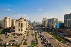 Astana-Stadt, Kasachstan - Foto von der Höhe lizenzfreie stockfotografie