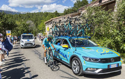 Astana Teamwork on Mont Ventoux - Tour de France 2016. Mont Ventoux, France - July 14,2016: The Italian cyclist Diego Rosa of Team Astana,discussing with the stock photo