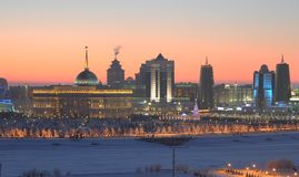Astana on winter evening  Royalty Free Stock Photography