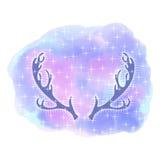 Astas de los alces Cabeza de los ciervos Estilo abstracto de la acuarela del fondo Fotos de archivo libres de regalías