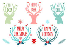 Astas de los ciervos de la Navidad, sistema del vector Imagenes de archivo