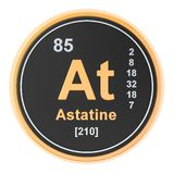 Astatine At chemical element. 3D rendering. Isolated on white background stock illustration
